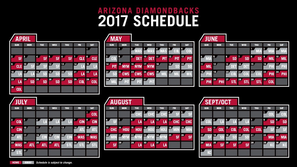 The Dbacks 2017 Schedule Is Out Openingday Is Set For