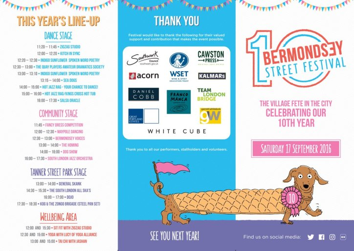 Bermondsey Street Festival Line Up leaflet