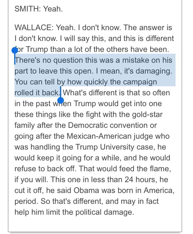 Chris Wallace--moderator of 3rd debate--says this after *5 years* of Trump's birther lies.