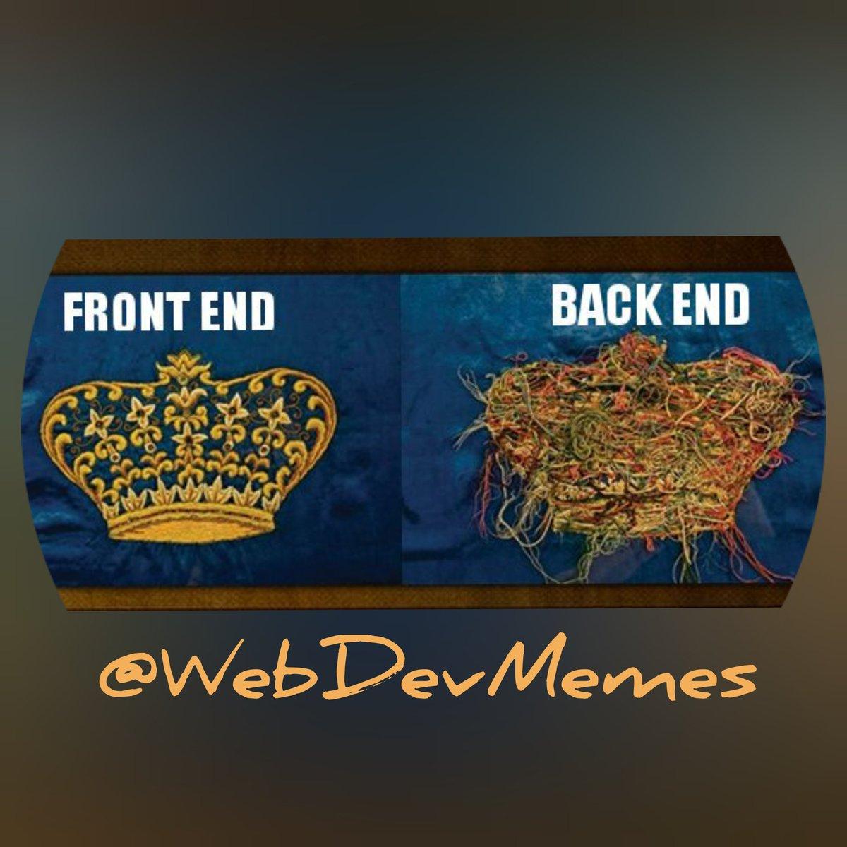 Frontend Back End Frontend Vs Backend Programmer Humor Meme On