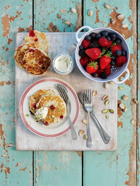 : Pistachio, Oat and Cranberry Breakfast Pancakes