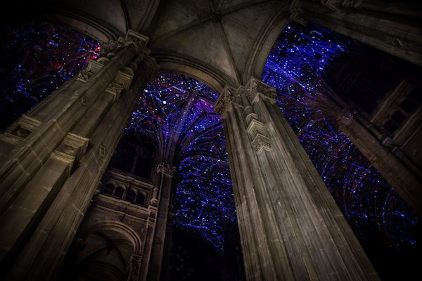 Artist projects virtual reality sky on ceiling of magnificent Parisian church