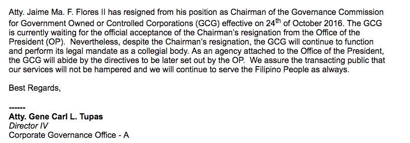 Atty. Jaime Ma. F. Flores II  has resigned as Chair of the Governance Commission for GOCC effective on Oct 24. | @1rgcruz