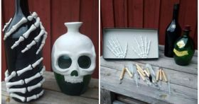 Make these skeleton bottles for Halloween DIY