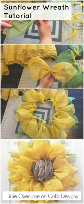 Gorgeous DIY Sunflower Wreath Tutorial decor home craft fall