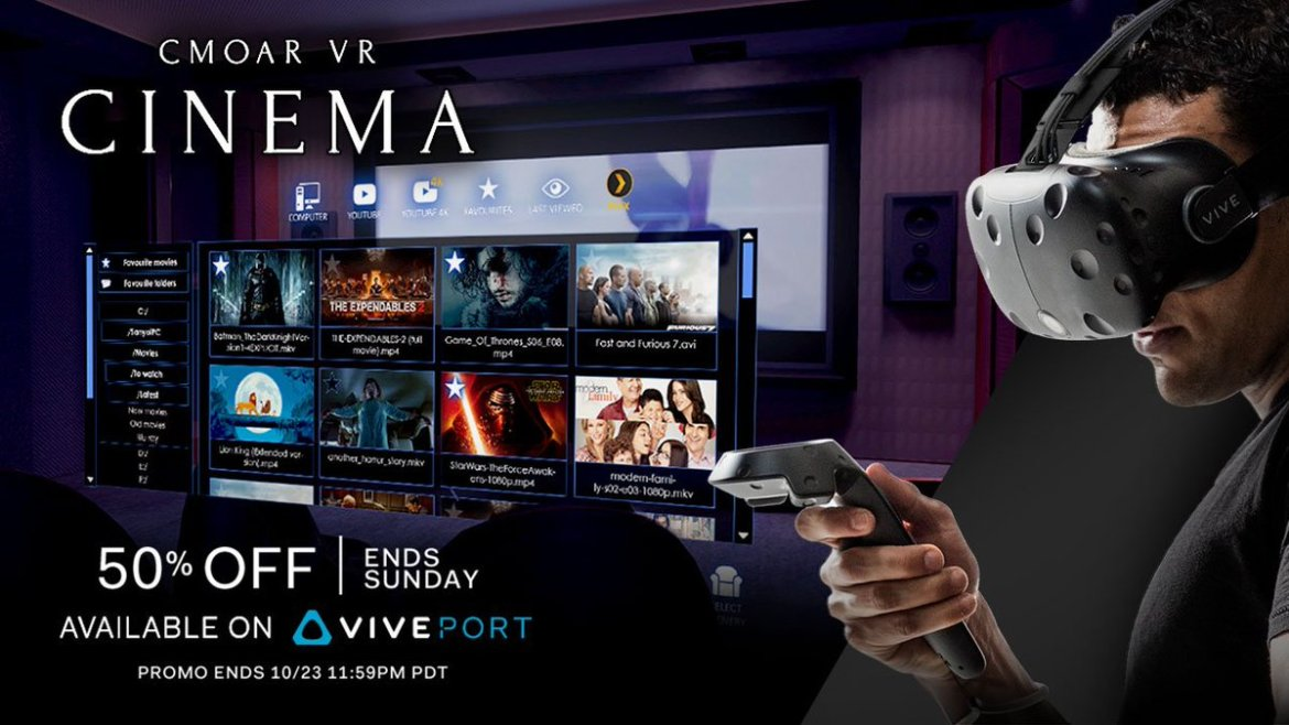 Watch your favorite movies in #VR on @CmoarCinema, 50% off this weekend on #Viveport: