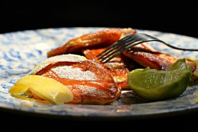 Apple, yogurt, lime & cardamom pancakes via Deenakakaya