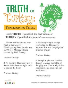 Thanksgiving: Truth or Turkey? Trivia DIY BestParties InstantFun