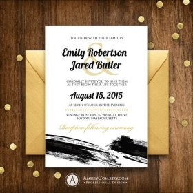 Black and White Wedding Invitations Printable Gold Unique Winter.. DIY InstantDownload