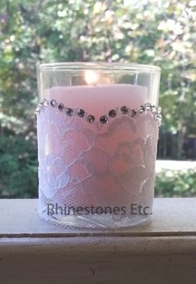 Easy DIY Rhinestone and lace votive holder wedding diygift
