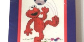 New Janlynn Sesame Street Elmo Soccer Cross Stitch Kit + Frame crafts kids giftideas