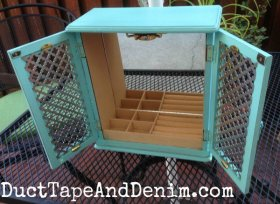 Thriftstore DIY makeover! Turquoise Two-Door Jewelry Cabinet -
