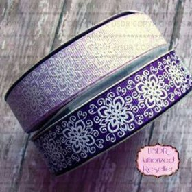 Lavender and Purple flower US Designer Ribbon - glitter ribbon KrystalsTuTuKloset Crafts
