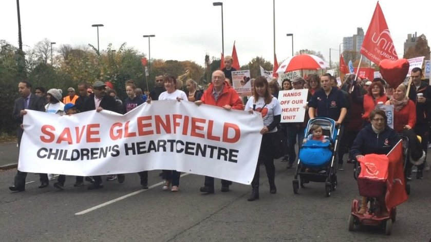 Hundreds march 'to save children's heart surgery' at Leicester hospital