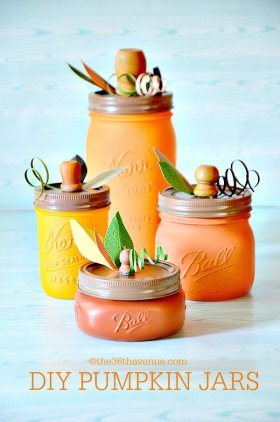 Last minute DIY fall decor - Pumpkin Mason Jars craft home Thanksgiving Halloween