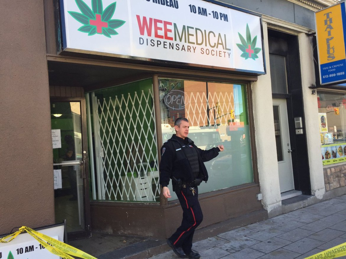 DEVELOPING: At least 3 pot shops raided by Ottawa police:  #ottnews