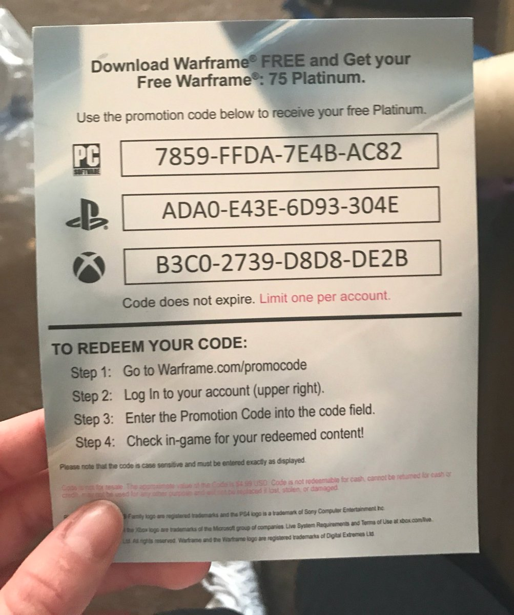 Warframe Platinum Xbox One Codes