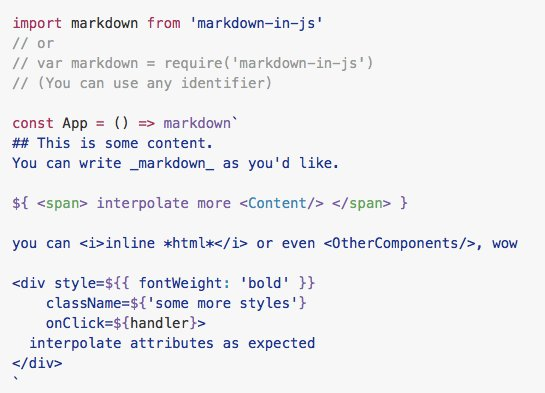 Inline markdown for #ReactJS / JSX: