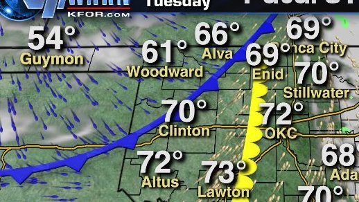 HD Decor Images » 3pm tuesday weather map  cold front   dry line west of okc  morning     3pm Tuesday Weather Map  Cold front   dry line west of OKC  Morning light