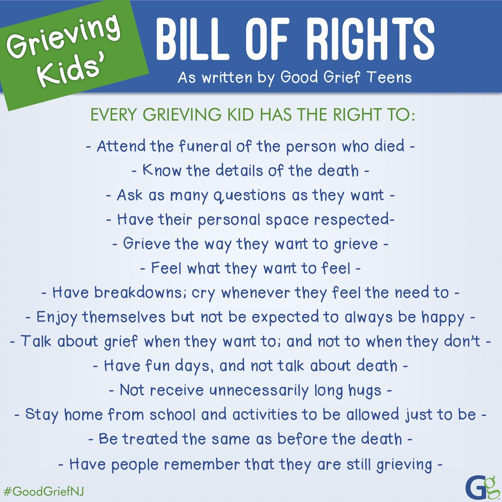 Good Grief On Twitter Grieving Kids Bill Of Rights As