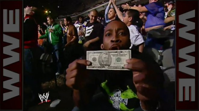 """Austin Hunt on Twitter: """"1/29/2007: Donald Trump """"dropped money"""" from the  rafters on Monday Night Raw to show appreciation to fans… """""""