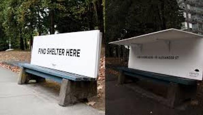 「ホームレスのためにベンチに屋根をつけるカナダ」の画像検索結果
