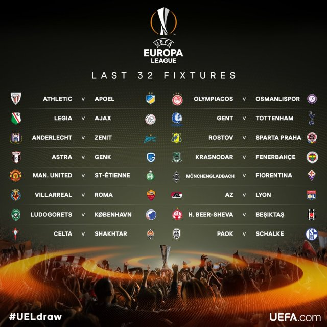 Definidos cruces de 16vos. de Final de Europa League