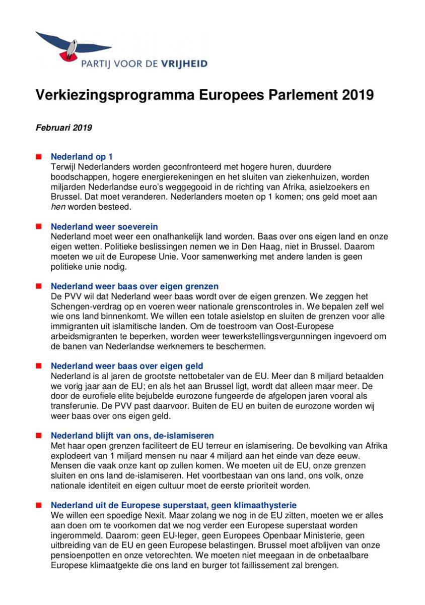 EP2019 - het PVV-programma