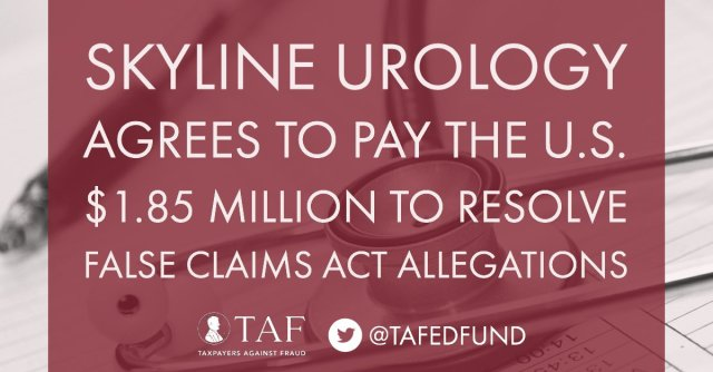 Image for the Tweet beginning: Skyline Urology agrees to pay