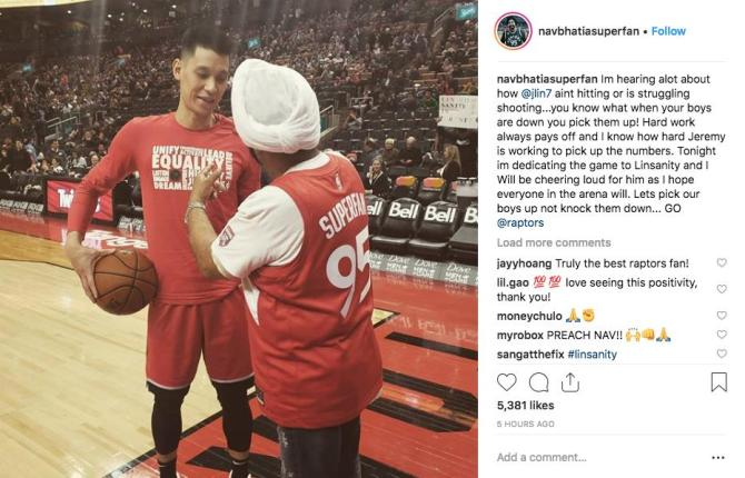 """That's what a SUPERFAN should do 🙌  navbhatiasuperfan(IG): """"you know what when your boys are down you pick them up! Hard work always pays off and I know how hard @JLin7 is working to pick up the numbers."""""""