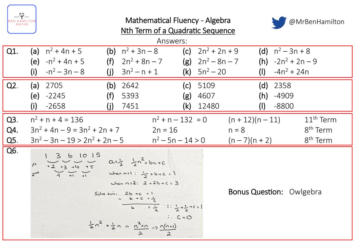 Sketching Quadratic Graphs Worksheet Tes