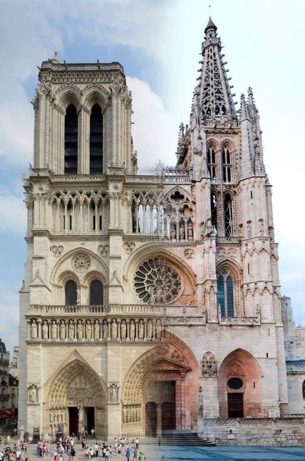 montaje Catedral de Burgos catedral de Notre Dame homenaje el día del incendio
