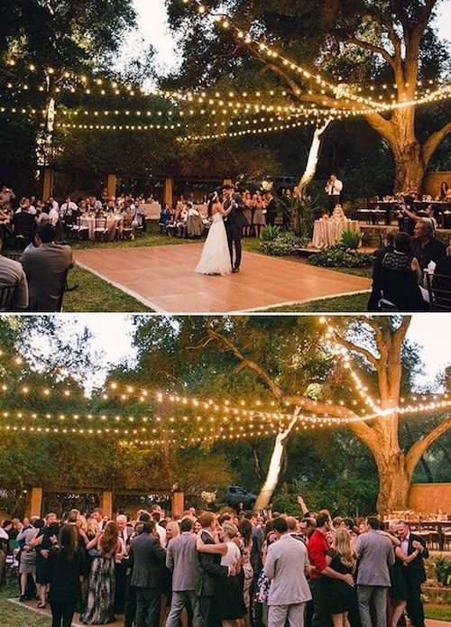 outdoor wedding dance floor lighting