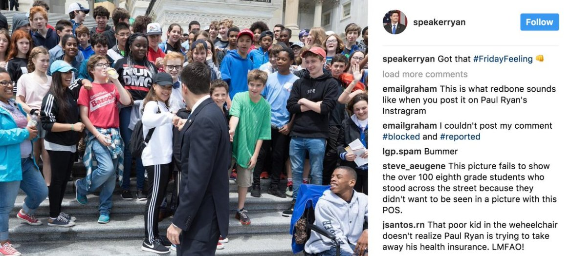 Nearly 100 8th graders refuse to join class photo with Paul Ryan