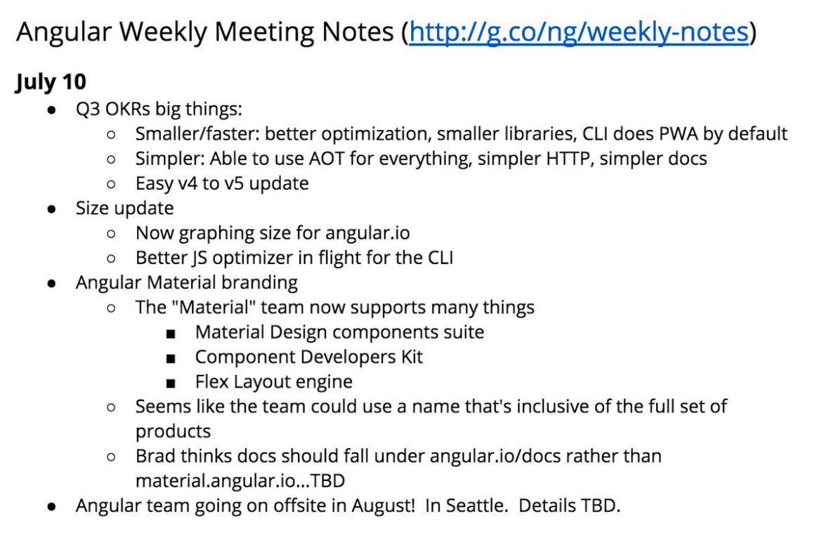 Angular team meeting notes for July 10!