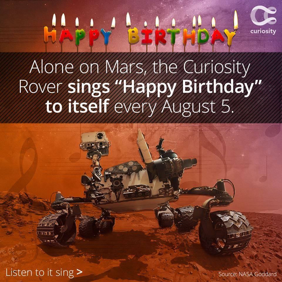 Startalk On Twitter Nasa S Curiosity Mars Rover Sings Happy Birthday To Itself Every August 5 Https T Co 4s7xlq4na3 Listen Https T Co Eznedvtwfg Https T Co 8gvosym6qv