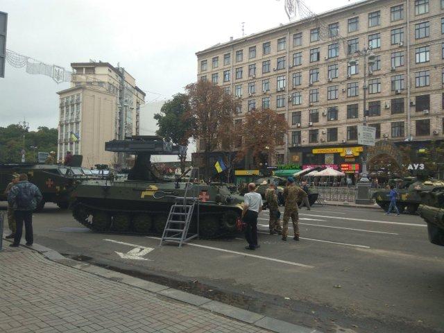 Ukrainian air-defense vehicles for military parade in Kyiv...