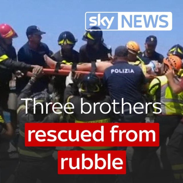 Three brothers, one just a baby, have been pulled alive from the rubble of...