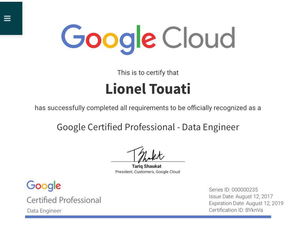 Lionel Touati S Tweet I Am A Certified Google Cloud Data