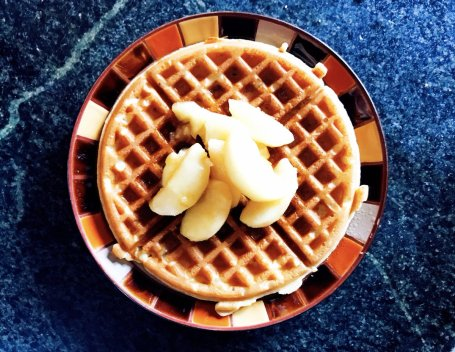 Overnight nutmeg-infused yeast waffles with sautéd local picked Maine apples & Maine maple syrup