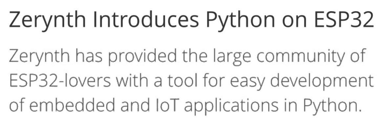 Zerynth Introduces Python on ESP32 📰   #Python #ESP32 #IoT