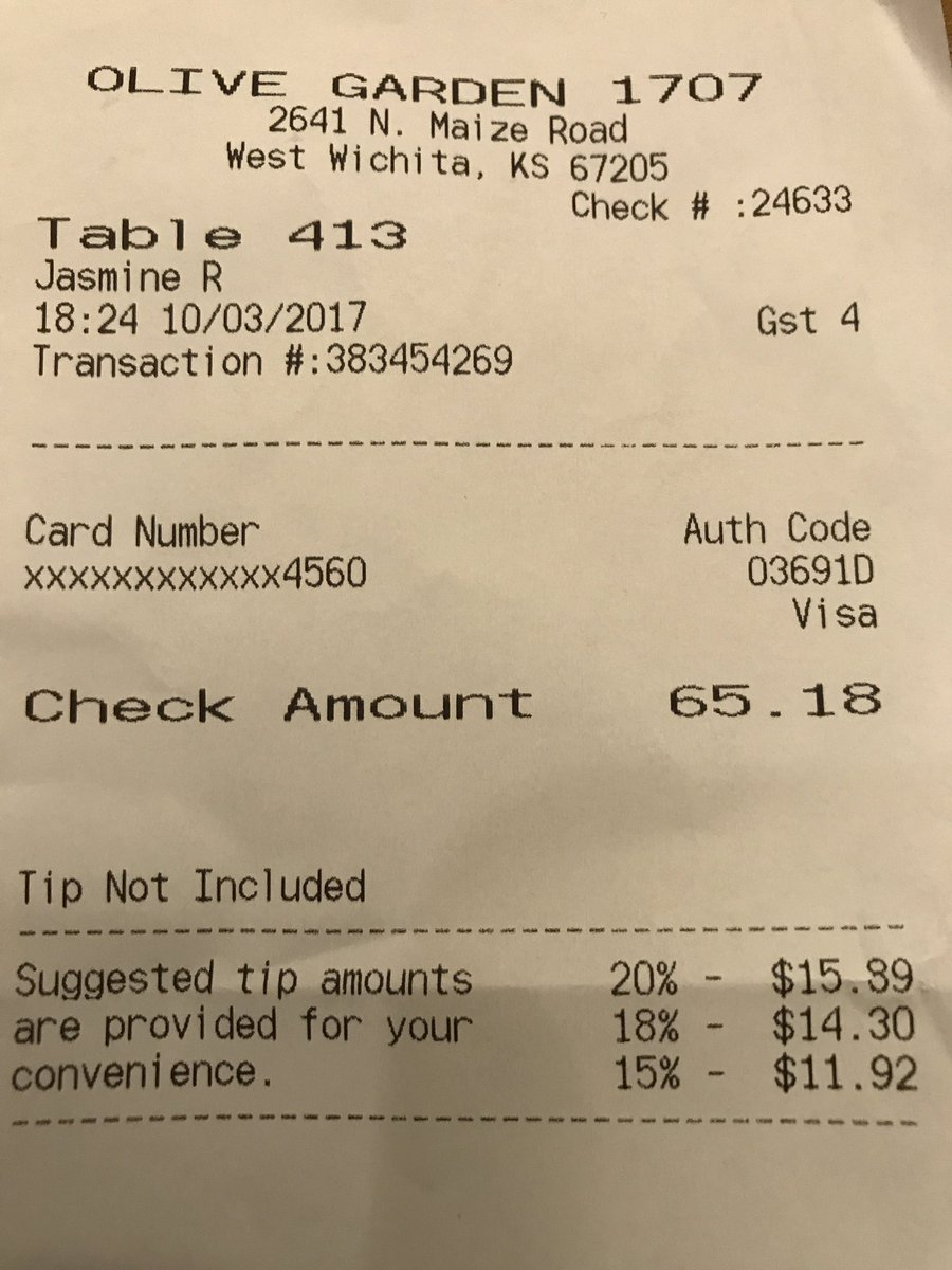 Olive Garden On Twitter Our Suggested Gratuity Is Based On The