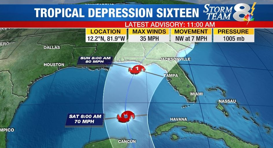 #BREAKING Tropical Depression 16 has just formed in the SW Caribbean. STORY: