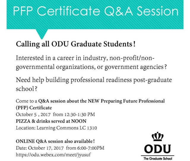 Odu Libraries On Twitter Odu Grad Students Stop By The Learning Commons 1310 Today To Learn More About The New Preparing Future Professionals Cert