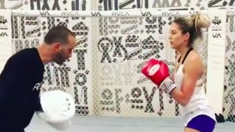 Recently Single Barbie Blank Crushes A Boxing Workout