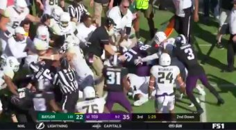 TCU And Baylor Brawl, Ref Gives Everybody On The Field An Unsportsmanlike Conduct Penalty