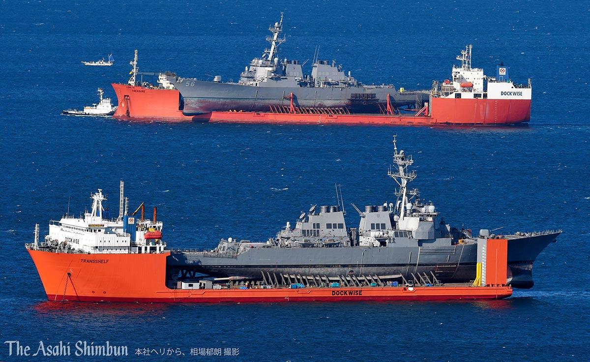 test ツイッターメディア - https://t.co/rp9LNu8Squ 運搬船に積まれた米イージス駆逐艦が2隻、横須賀港の沖で並びました。奥はシンガポール沖で衝突した #ジョン・S・マケイン。手前は伊豆半島沖で事故を起こし大規模修理のため米国に運ばれる予定の #フィッツジェラルド です。(省)#イージス艦 #アメリカ海軍 #横須賀 https://t.co/Yw3kITbrED