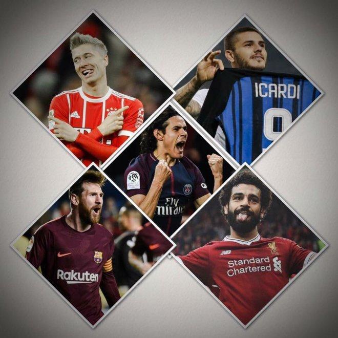 Image result for Cavani,salah and Messi