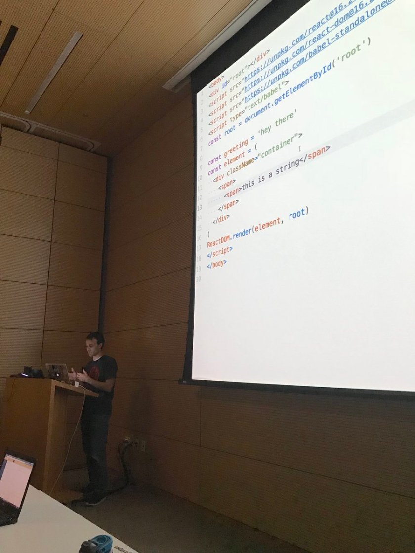 Learning The Beginner's Guide to ReactJS from the man himself, @kentcdodds.  @utjs @octanner