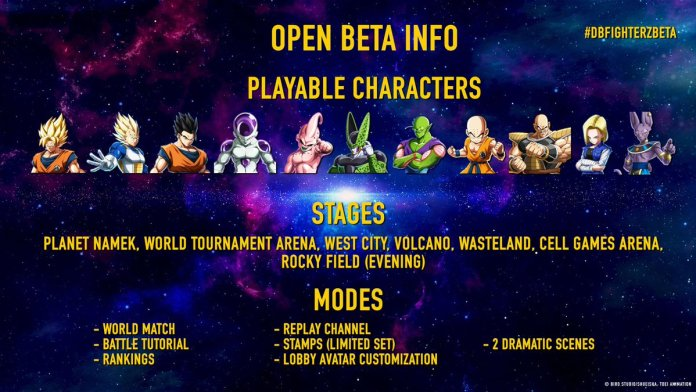 Dragon Ball FighterZ Open Beta Details, Characters, Stages, Modes